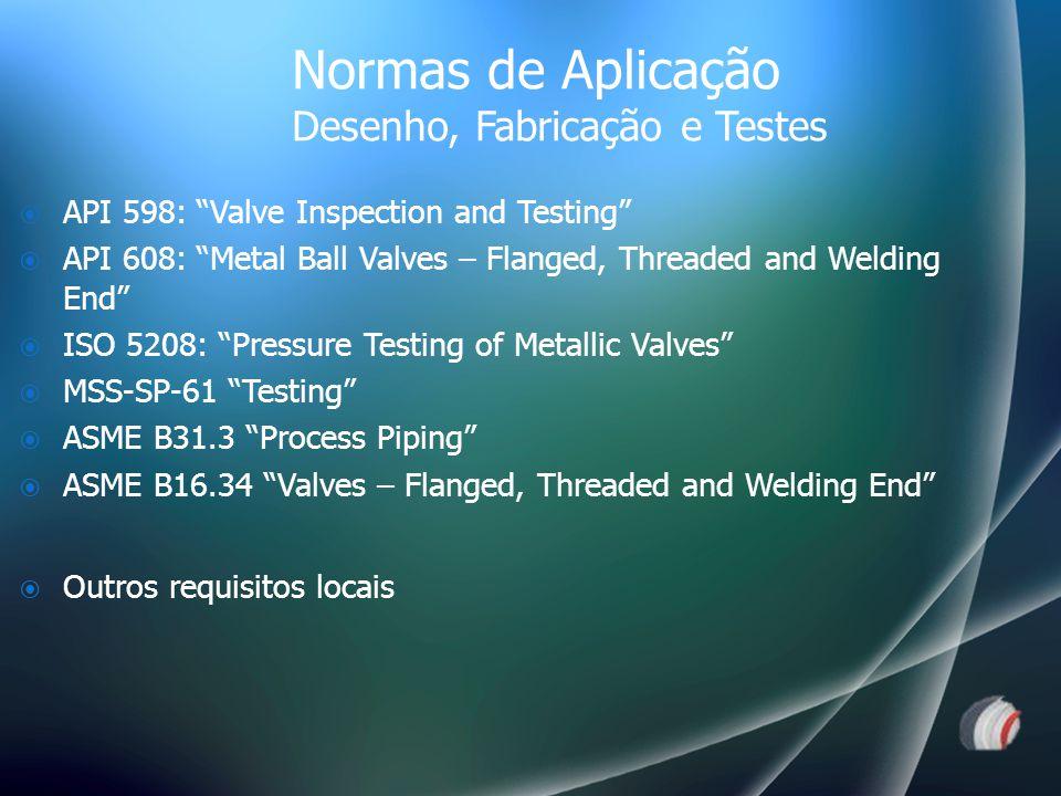  API 598: Valve Inspection and Testing  API 608: Metal Ball Valves – Flanged, Threaded and Welding End  ISO 5208: Pressure Testing of Metallic Valves  MSS-SP-61 Testing  ASME B31.3 Process Piping  ASME B16.34 Valves – Flanged, Threaded and Welding End  Outros requisitos locais Normas de Aplicação Desenho, Fabricação e Testes