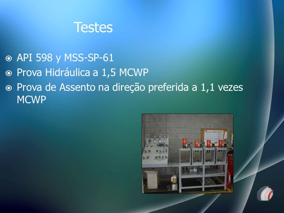  API 598 y MSS-SP-61  Prova Hidráulica a 1,5 MCWP  Prova de Assento na direção preferida a 1,1 vezes MCWP Testes