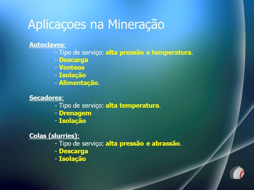 Autoclaves: - Tipo de serviço: alta pressão e temperatura.