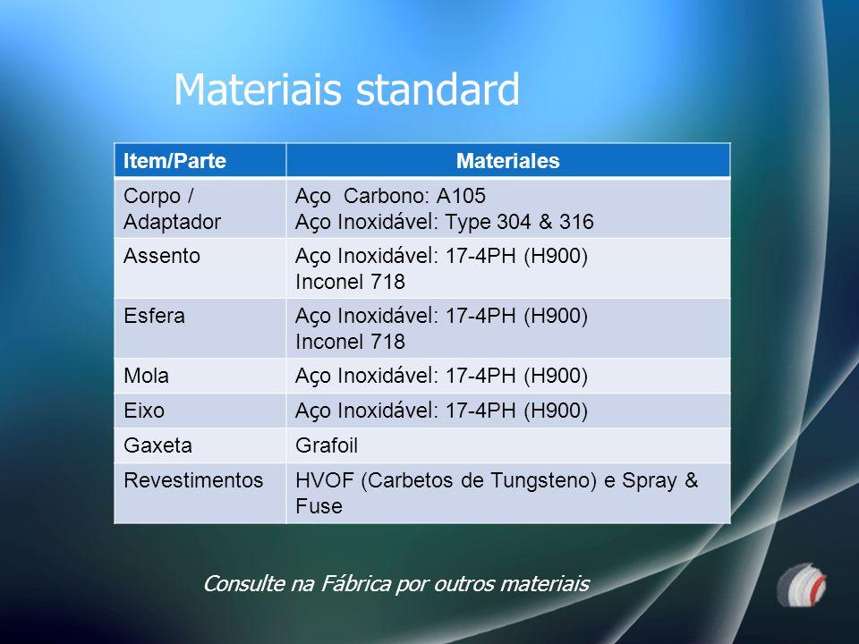 Item/ParteMateriales Corpo / Adaptador Aço Carbono: A105 Aço Inoxidável: Type 304 & 316 AssentoAço Inoxidável: 17-4PH (H900) Inconel 718 EsferaAço Inoxidável: 17-4PH (H900) Inconel 718 MolaAço Inoxidável: 17-4PH (H900) EixoAço Inoxidável: 17-4PH (H900) GaxetaGrafoil RevestimentosHVOF (Carbetos de Tungsteno) e Spray & Fuse Consulte na Fábrica por outros materiais Materiais standard