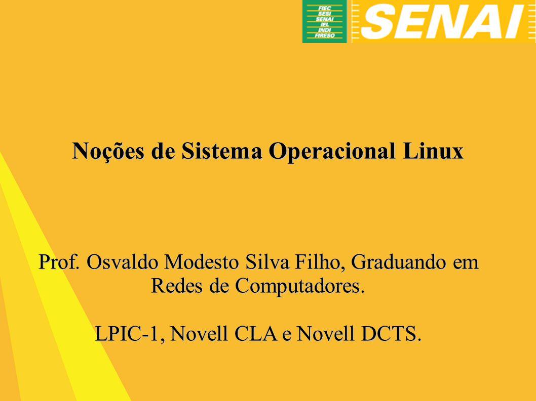 Noções de Sistema Operacional Linux Prof.