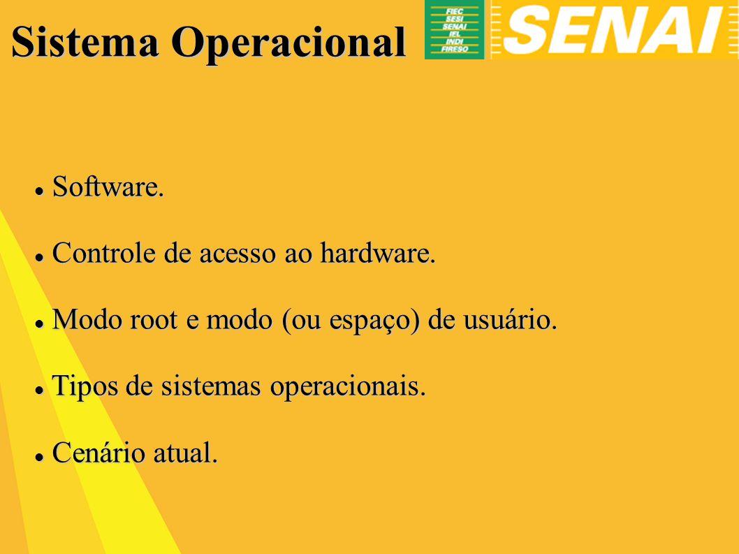 Sistema Operacional Software.Software. Controle de acesso ao hardware.
