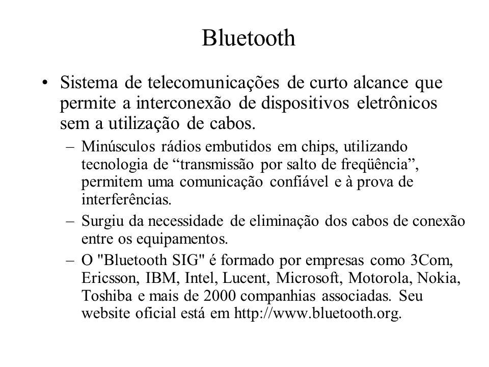 Sistema de telecomunicações de curto alcance que permite a interconexão de dispositivos eletrônicos sem a utilização de cabos. –Minúsculos rádios embu