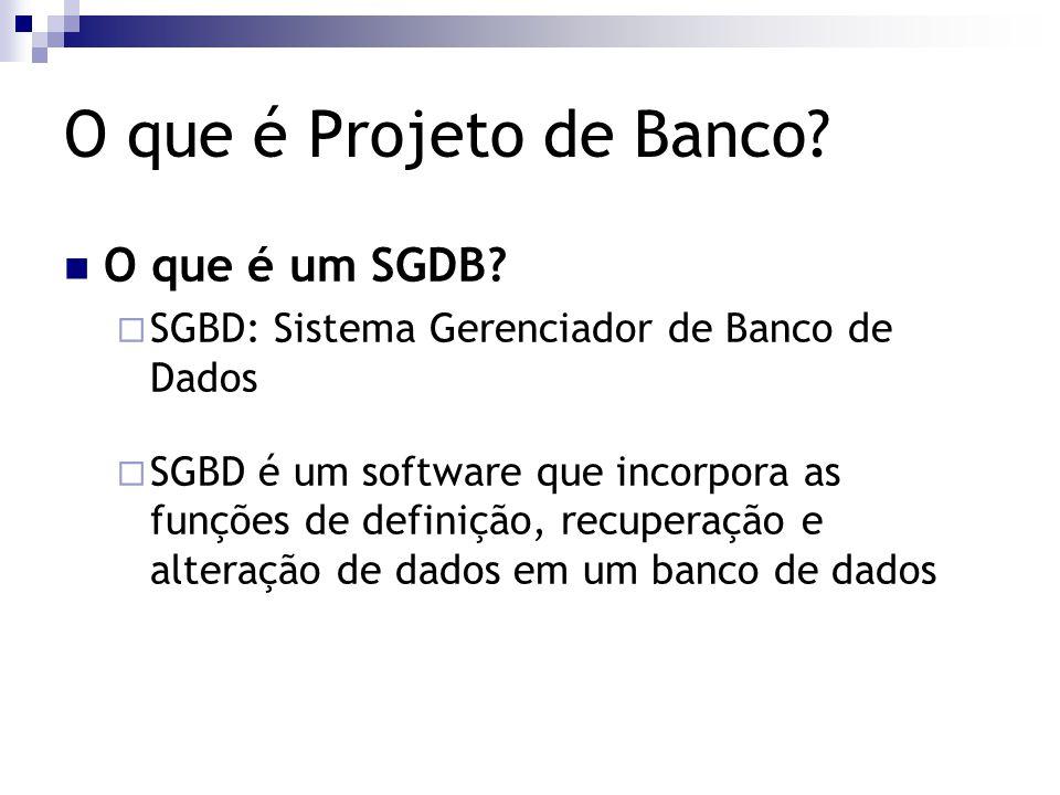 O que é Projeto de Banco? O que é um SGDB?  SGBD: Sistema Gerenciador de Banco de Dados  SGBD é um software que incorpora as funções de definição, r