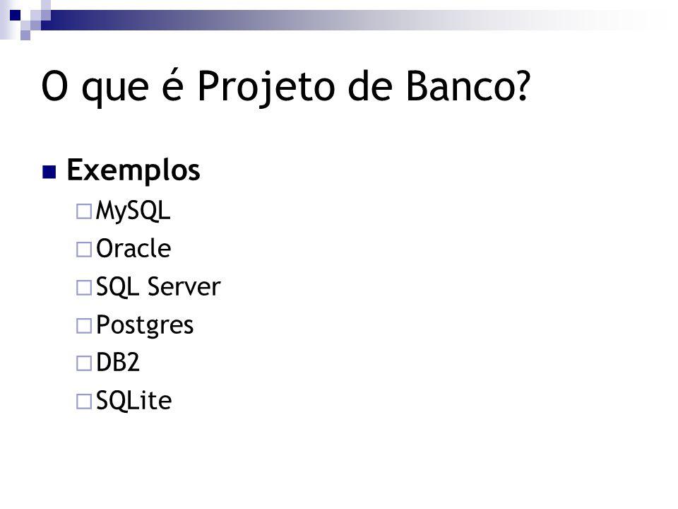 O que é Projeto de Banco? Exemplos  MySQL  Oracle  SQL Server  Postgres  DB2  SQLite