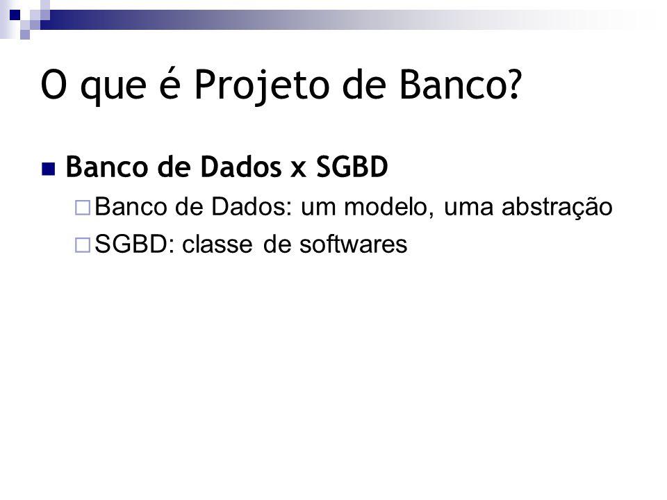 O que é Projeto de Banco? Banco de Dados x SGBD  Banco de Dados: um modelo, uma abstração  SGBD: classe de softwares