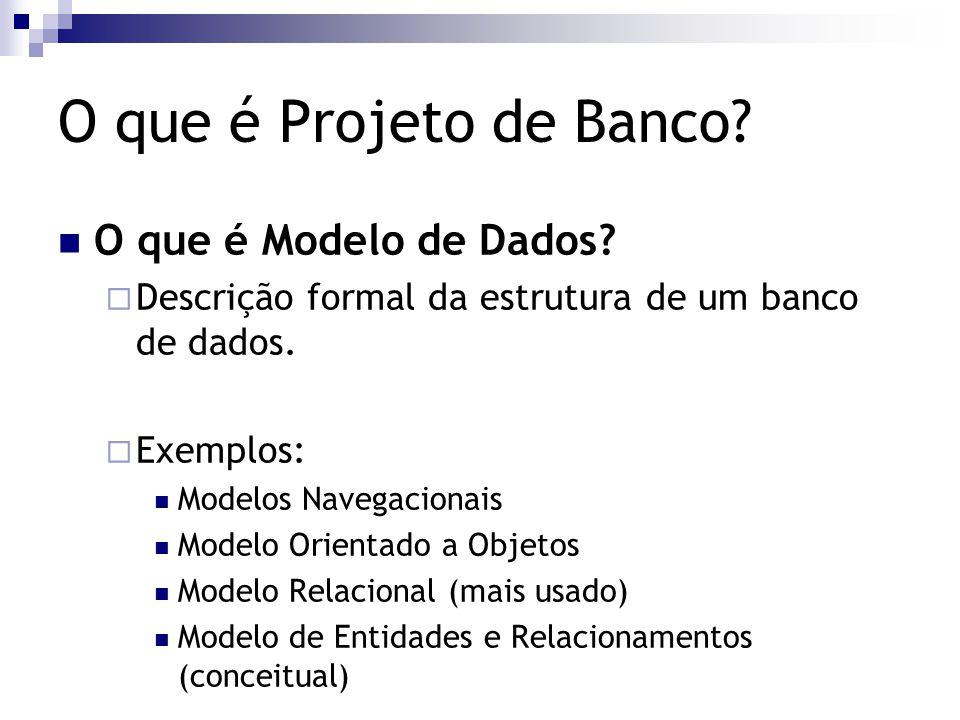 O que é Projeto de Banco? O que é Modelo de Dados?  Descrição formal da estrutura de um banco de dados.  Exemplos: Modelos Navegacionais Modelo Orie
