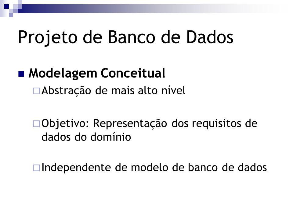 Projeto de Banco de Dados Modelagem Conceitual  Abstração de mais alto nível  Objetivo: Representação dos requisitos de dados do domínio  Independe