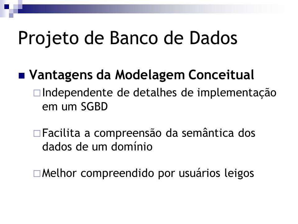 Projeto de Banco de Dados Vantagens da Modelagem Conceitual  Independente de detalhes de implementação em um SGBD  Facilita a compreensão da semânti