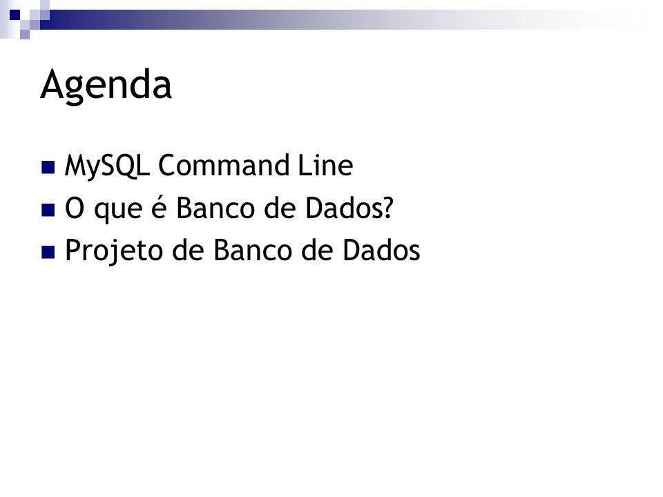 Agenda MySQL Command Line O que é Banco de Dados? Projeto de Banco de Dados