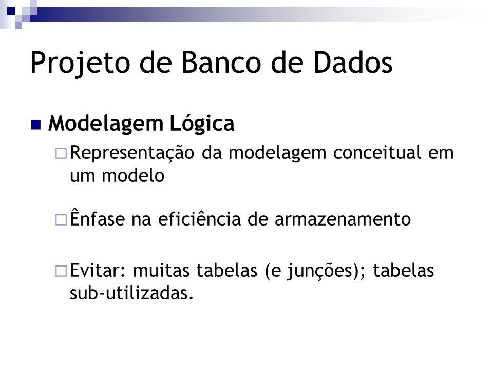 Projeto de Banco de Dados Modelagem Lógica  Representação da modelagem conceitual em um modelo  Ênfase na eficiência de armazenamento  Evitar: muit