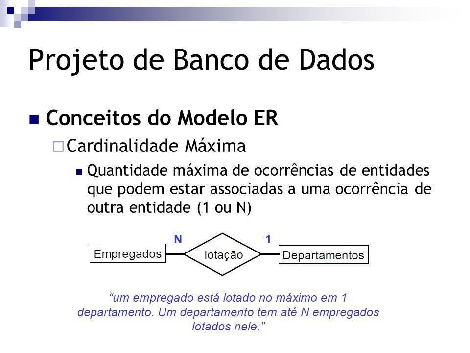 Projeto de Banco de Dados Conceitos do Modelo ER  Cardinalidade Máxima Quantidade máxima de ocorrências de entidades que podem estar associadas a uma