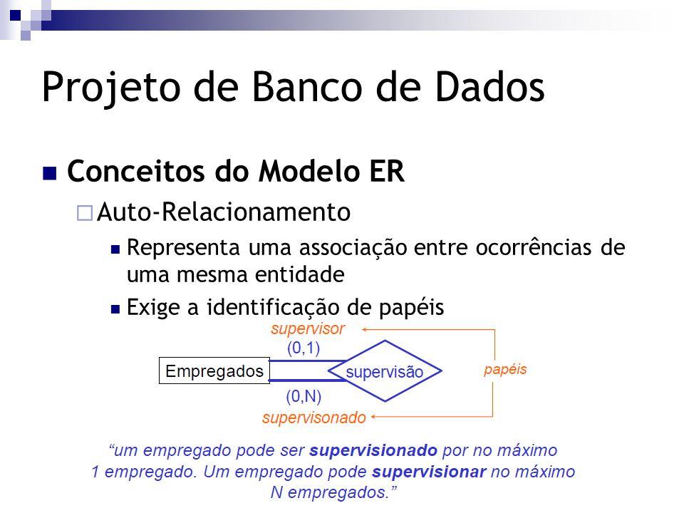 Projeto de Banco de Dados Conceitos do Modelo ER  Auto-Relacionamento Representa uma associação entre ocorrências de uma mesma entidade Exige a ident