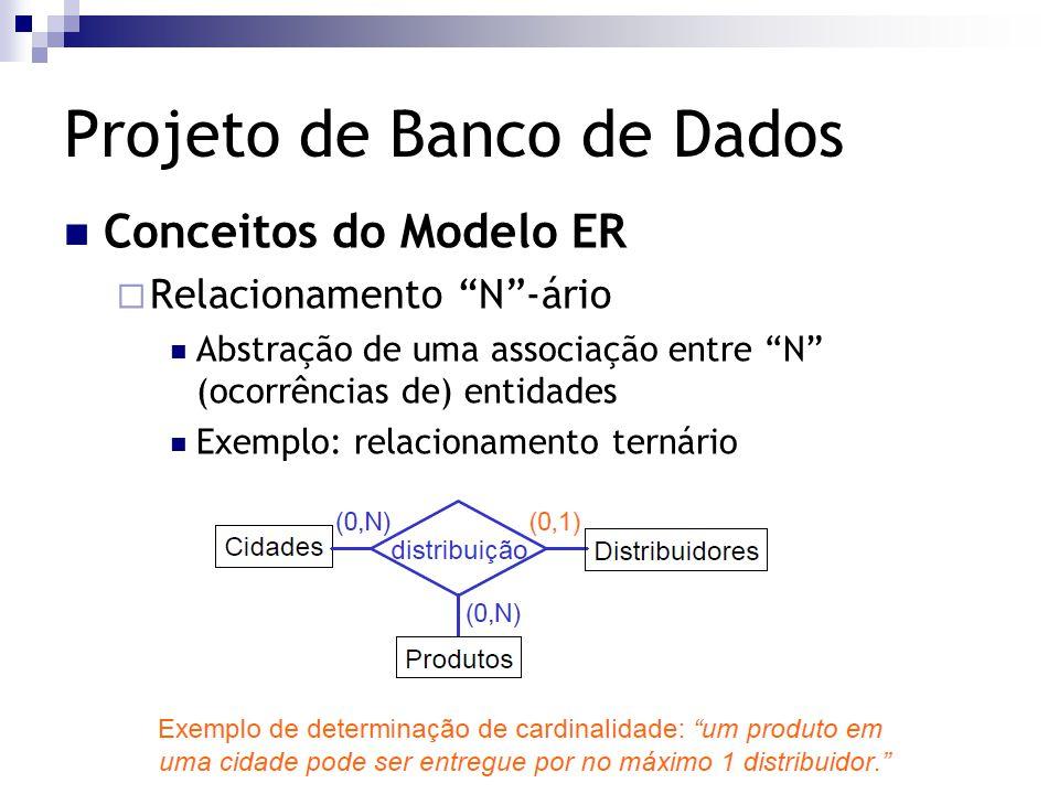 """Projeto de Banco de Dados Conceitos do Modelo ER  Relacionamento """"N""""-ário Abstração de uma associação entre """"N"""" (ocorrências de) entidades Exemplo: r"""