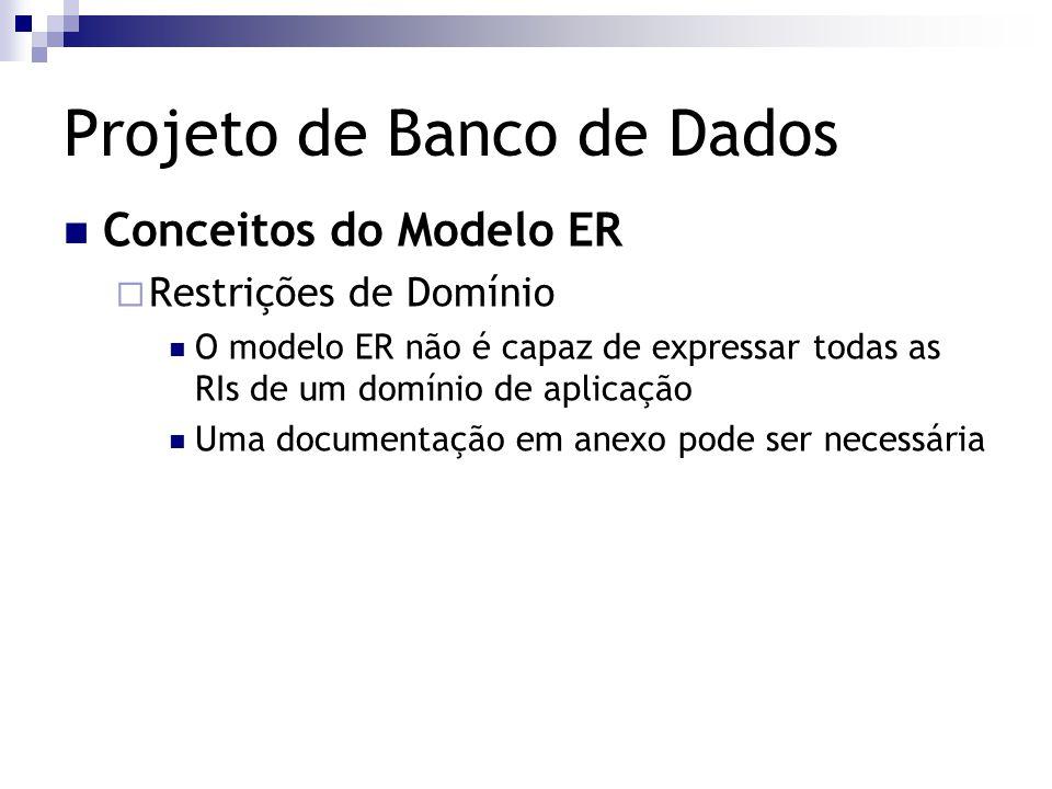 Projeto de Banco de Dados Conceitos do Modelo ER  Restrições de Domínio O modelo ER não é capaz de expressar todas as RIs de um domínio de aplicação