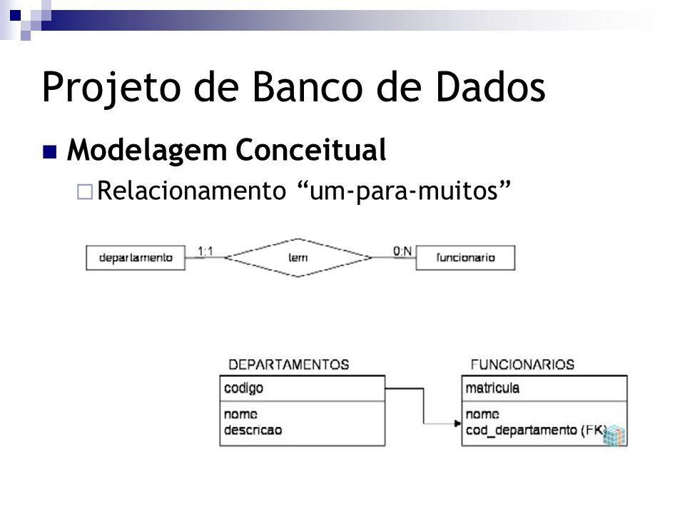"""Projeto de Banco de Dados Modelagem Conceitual  Relacionamento """"um-para-muitos"""""""