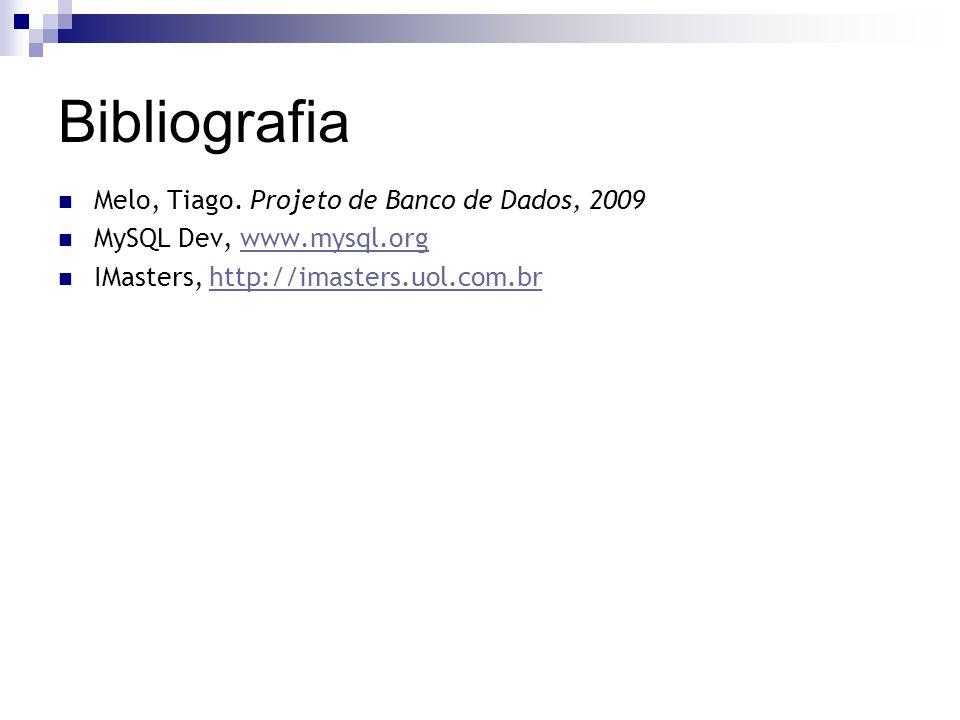 Bibliografia Melo, Tiago. Projeto de Banco de Dados, 2009 MySQL Dev, www.mysql.orgwww.mysql.org IMasters, http://imasters.uol.com.brhttp://imasters.uo