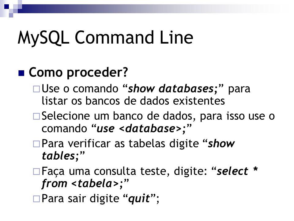 """Como proceder?  Use o comando """"show databases;"""" para listar os bancos de dados existentes  Selecione um banco de dados, para isso use o comando """"use"""