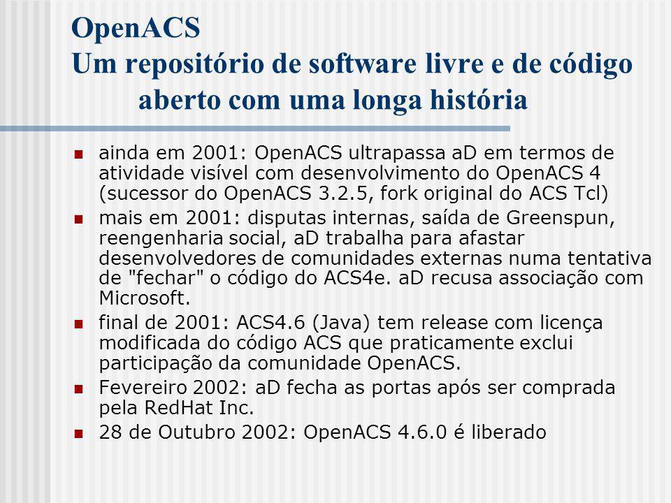 OpenACS Um repositório de software livre e de código aberto com uma longa história ainda em 2001: OpenACS ultrapassa aD em termos de atividade visível com desenvolvimento do OpenACS 4 (sucessor do OpenACS 3.2.5, fork original do ACS Tcl) mais em 2001: disputas internas, saída de Greenspun, reengenharia social, aD trabalha para afastar desenvolvedores de comunidades externas numa tentativa de fechar o código do ACS4e.