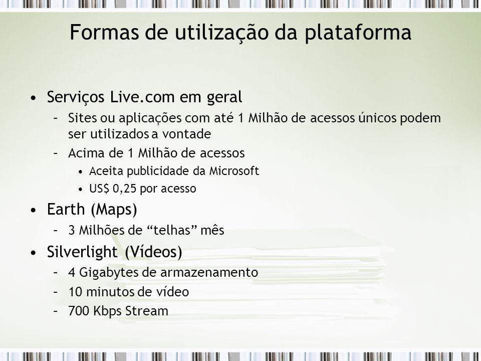 Formas de utilização da plataforma Serviços Live.com em geral –Sites ou aplicações com até 1 Milhão de acessos únicos podem ser utilizados a vontade –Acima de 1 Milhão de acessos Aceita publicidade da Microsoft US$ 0,25 por acesso Earth (Maps) –3 Milhões de telhas mês Silverlight (Vídeos) –4 Gigabytes de armazenamento –10 minutos de vídeo –700 Kbps Stream
