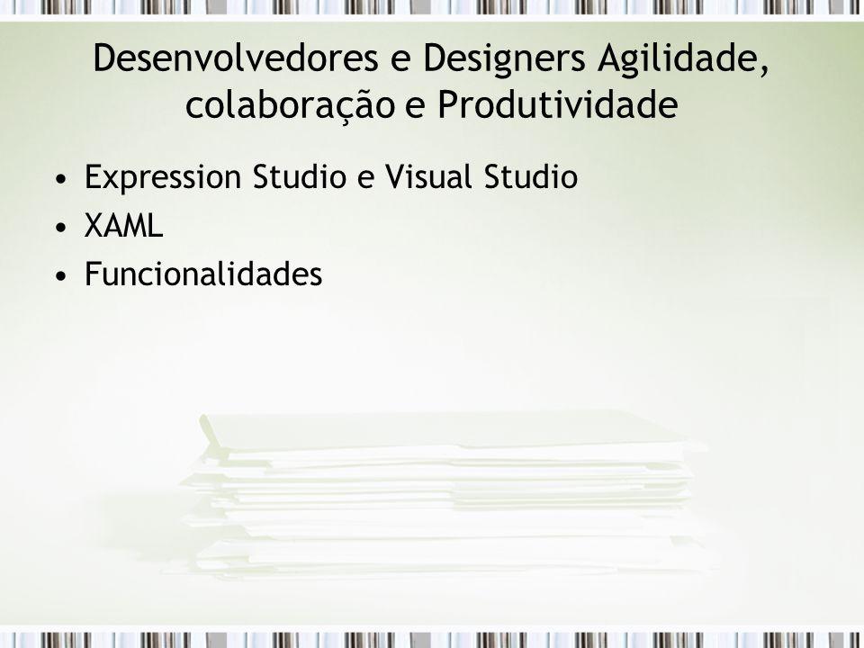 Desenvolvedores e Designers Agilidade, colaboração e Produtividade Expression Studio e Visual Studio XAML Funcionalidades