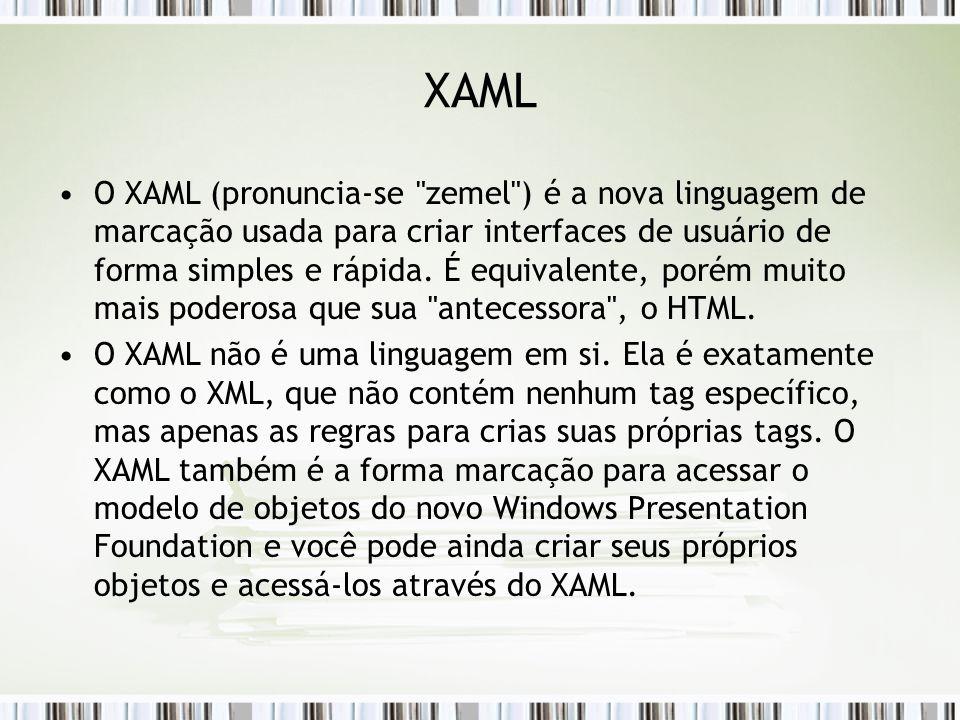 XAML O XAML (pronuncia-se zemel ) é a nova linguagem de marcação usada para criar interfaces de usuário de forma simples e rápida.