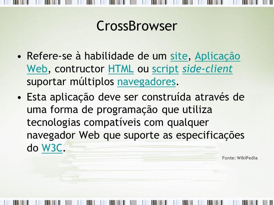 CrossBrowser Refere-se à habilidade de um site, Aplicação Web, contructor HTML ou script side-client suportar múltiplos navegadores.siteAplicação WebHTMLscriptside-clientnavegadores Esta aplicação deve ser construída através de uma forma de programação que utiliza tecnologias compatíveis com qualquer navegador Web que suporte as especificações do W3C.W3C Fonte: WikiPedia