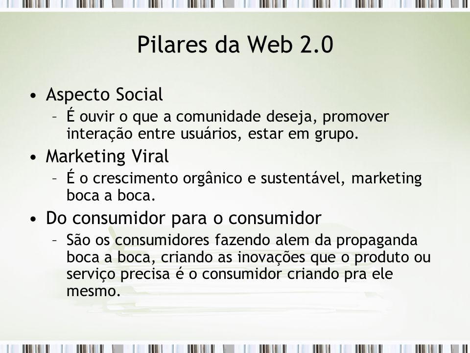 Pilares da Web 2.0 Aspecto Social –É ouvir o que a comunidade deseja, promover interação entre usuários, estar em grupo.