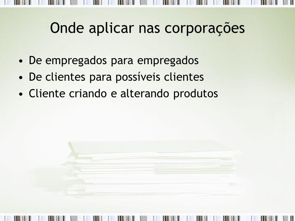 Onde aplicar nas corporações De empregados para empregados De clientes para possíveis clientes Cliente criando e alterando produtos