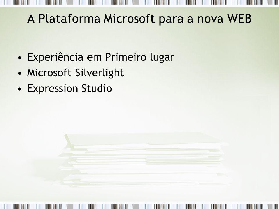 A Plataforma Microsoft para a nova WEB Experiência em Primeiro lugar Microsoft Silverlight Expression Studio