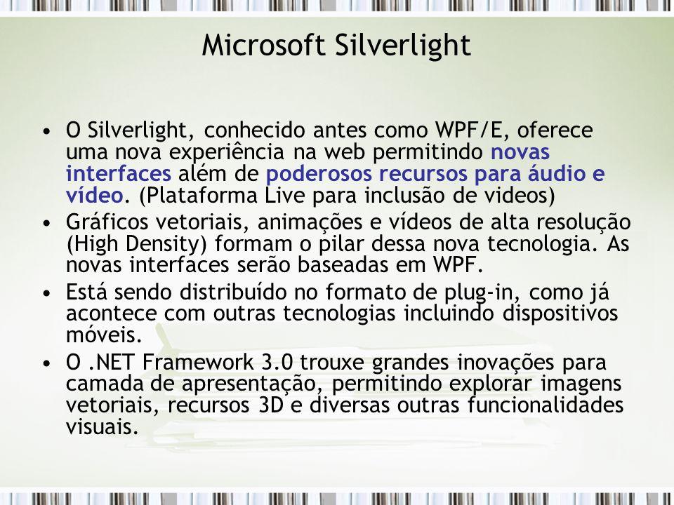 Microsoft Silverlight O Silverlight, conhecido antes como WPF/E, oferece uma nova experiência na web permitindo novas interfaces além de poderosos recursos para áudio e vídeo.