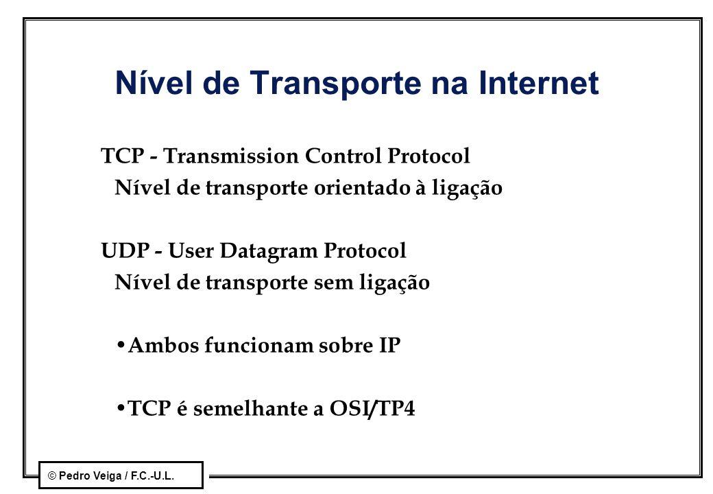 © Pedro Veiga / F.C.-U.L. Nível de Transporte na Internet TCP - Transmission Control Protocol Nível de transporte orientado à ligação UDP - User Datag