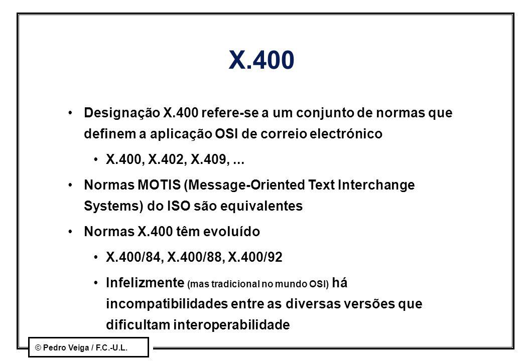 © Pedro Veiga / F.C.-U.L. X.400 Designação X.400 refere-se a um conjunto de normas que definem a aplicação OSI de correio electrónico X.400, X.402, X.