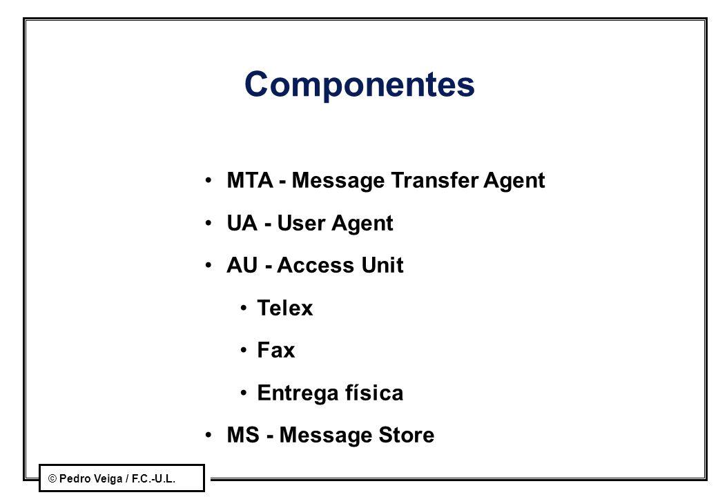 © Pedro Veiga / F.C.-U.L. Componentes MTA - Message Transfer Agent UA - User Agent AU - Access Unit Telex Fax Entrega física MS - Message Store
