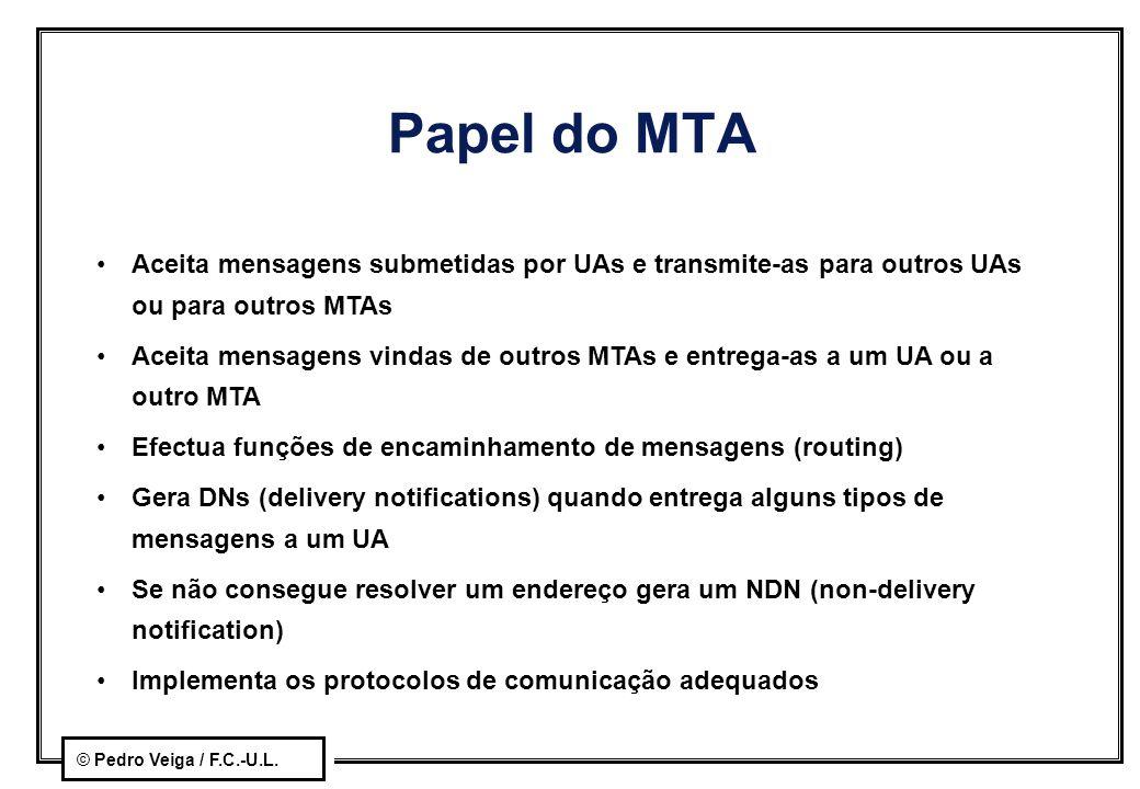 © Pedro Veiga / F.C.-U.L. Papel do MTA Aceita mensagens submetidas por UAs e transmite-as para outros UAs ou para outros MTAs Aceita mensagens vindas