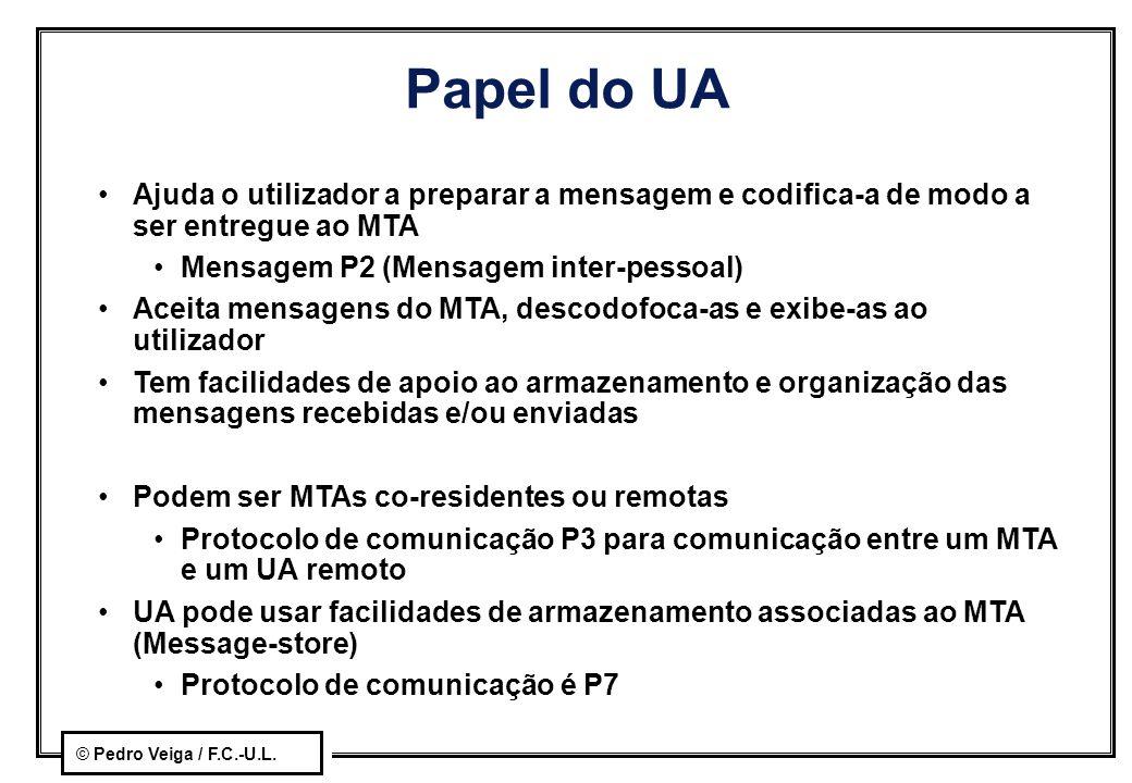 © Pedro Veiga / F.C.-U.L. Papel do UA Ajuda o utilizador a preparar a mensagem e codifica-a de modo a ser entregue ao MTA Mensagem P2 (Mensagem inter-