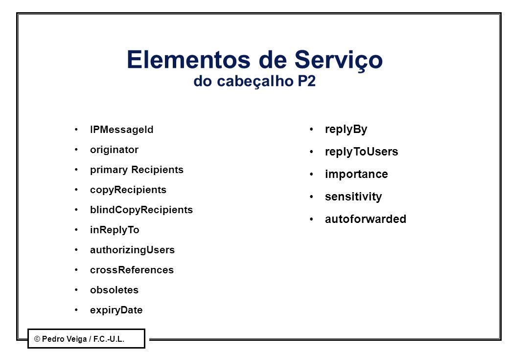 © Pedro Veiga / F.C.-U.L. Elementos de Serviço do cabeçalho P2 IPMessageId originator primary Recipients copyRecipients blindCopyRecipients inReplyTo