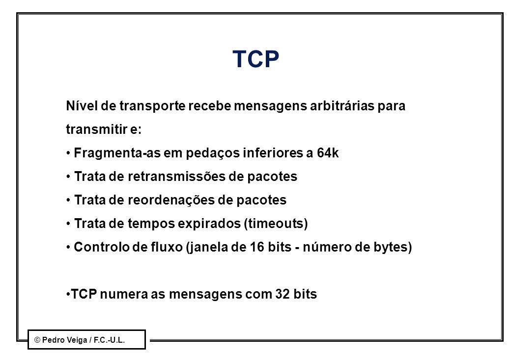 © Pedro Veiga / F.C.-U.L. TCP Nível de transporte recebe mensagens arbitrárias para transmitir e: Fragmenta-as em pedaços inferiores a 64k Trata de re