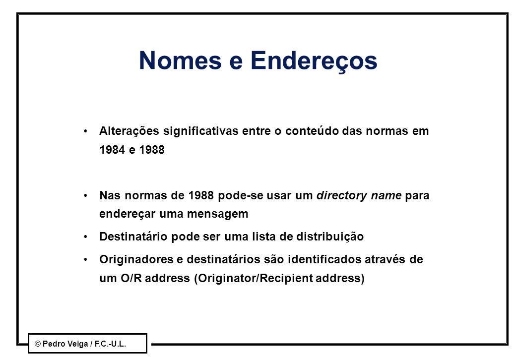 © Pedro Veiga / F.C.-U.L. Nomes e Endereços Alterações significativas entre o conteúdo das normas em 1984 e 1988 Nas normas de 1988 pode-se usar um di