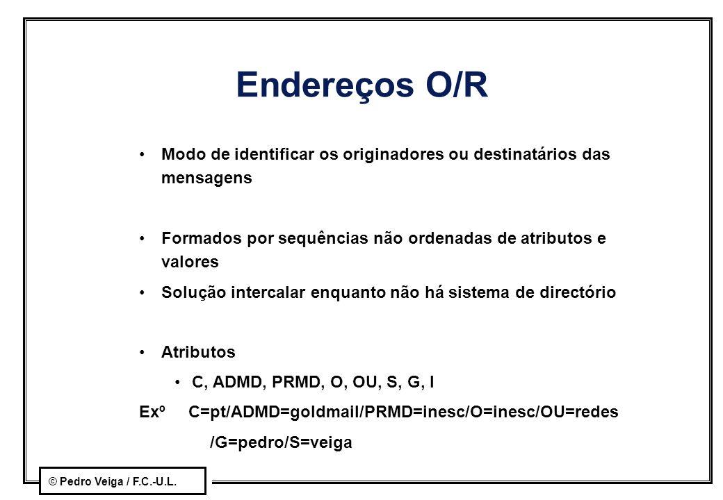 © Pedro Veiga / F.C.-U.L. Endereços O/R Modo de identificar os originadores ou destinatários das mensagens Formados por sequências não ordenadas de at