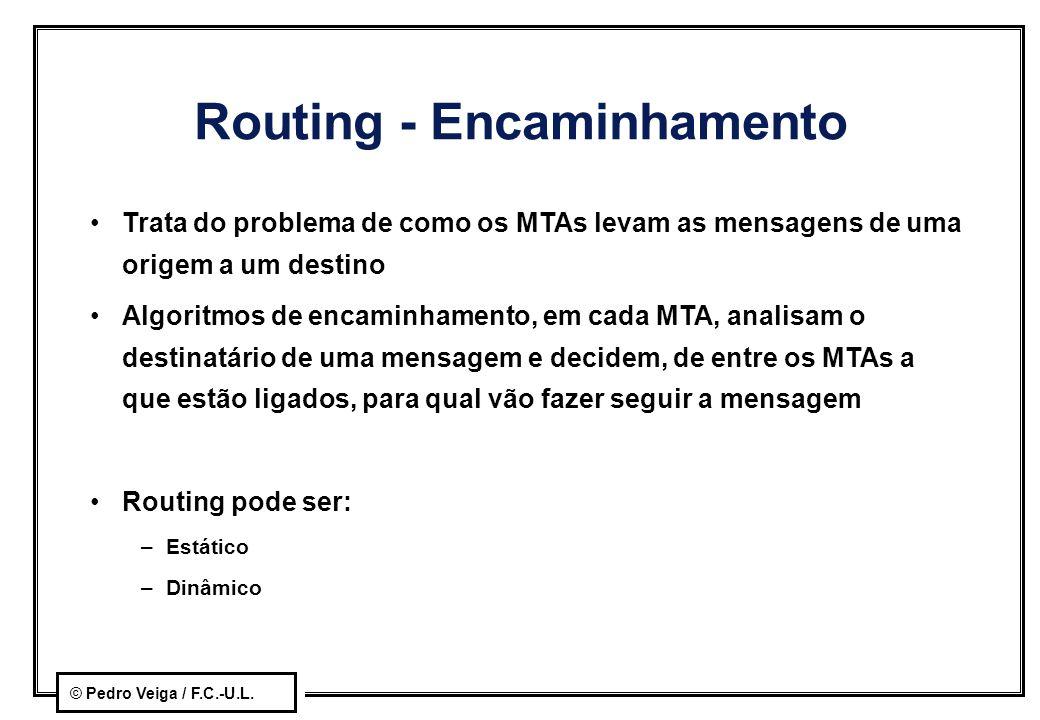 © Pedro Veiga / F.C.-U.L. Routing - Encaminhamento Trata do problema de como os MTAs levam as mensagens de uma origem a um destino Algoritmos de encam