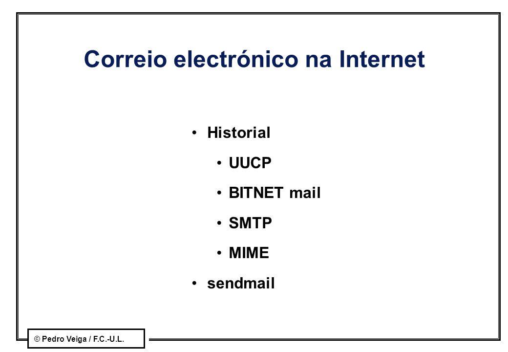 © Pedro Veiga / F.C.-U.L. Correio electrónico na Internet Historial UUCP BITNET mail SMTP MIME sendmail