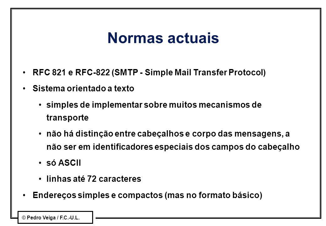 © Pedro Veiga / F.C.-U.L. Normas actuais RFC 821 e RFC-822 (SMTP - Simple Mail Transfer Protocol) Sistema orientado a texto simples de implementar sob