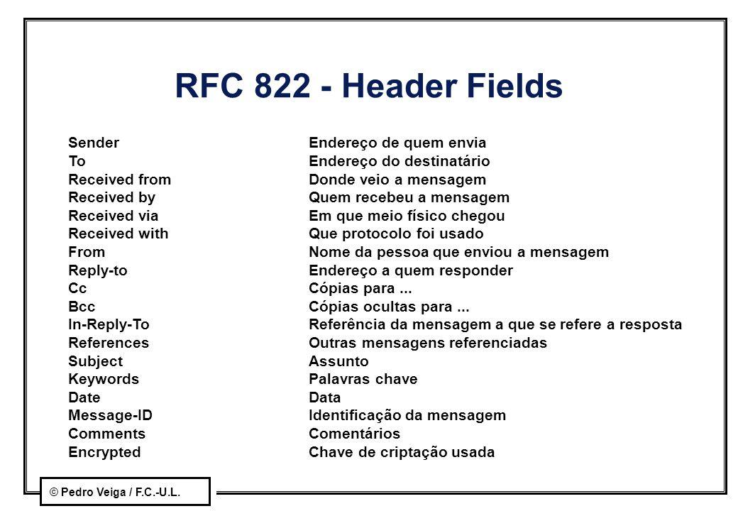 © Pedro Veiga / F.C.-U.L. RFC 822 - Header Fields SenderEndereço de quem envia ToEndereço do destinatário Received fromDonde veio a mensagem Received