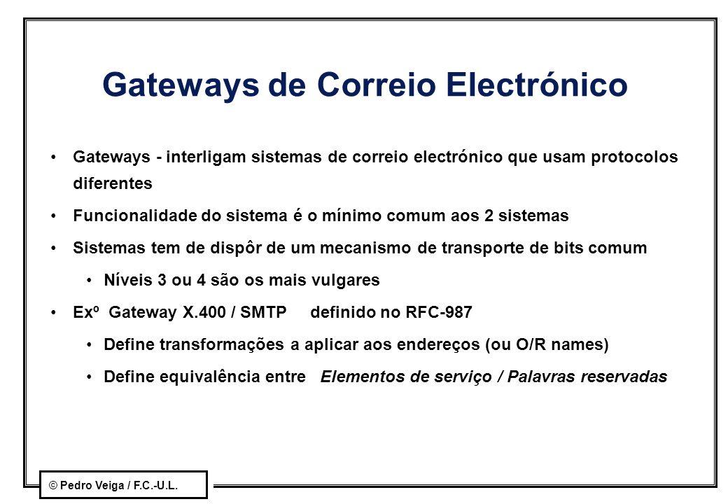 © Pedro Veiga / F.C.-U.L. Gateways de Correio Electrónico Gateways - interligam sistemas de correio electrónico que usam protocolos diferentes Funcion