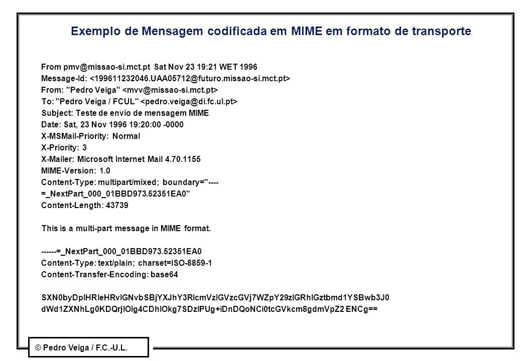 © Pedro Veiga / F.C.-U.L. Exemplo de Mensagem codificada em MIME em formato de transporte From pmv@missao-si.mct.pt Sat Nov 23 19:21 WET 1996 Message-