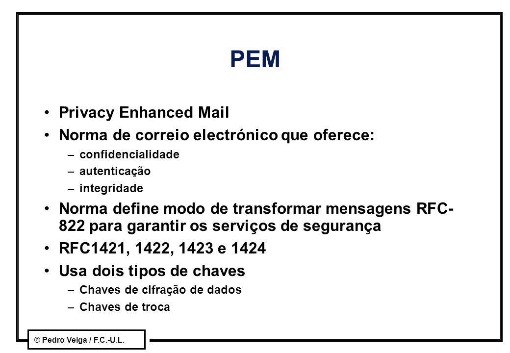 © Pedro Veiga / F.C.-U.L. PEM Privacy Enhanced Mail Norma de correio electrónico que oferece: –confidencialidade –autenticação –integridade Norma defi