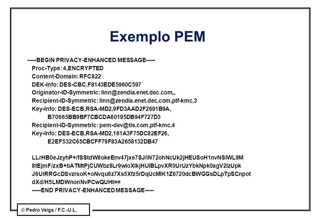 © Pedro Veiga / F.C.-U.L. Exemplo PEM -----BEGIN PRIVACY-ENHANCED MESSAGE----- Proc-Type: 4,ENCRYPTED Content-Domain: RFC822 DEK-Info: DES-CBC,F8143ED