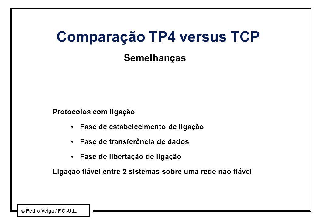 © Pedro Veiga / F.C.-U.L. Comparação TP4 versus TCP Semelhanças Protocolos com ligação Fase de estabelecimento de ligação Fase de transferência de dad