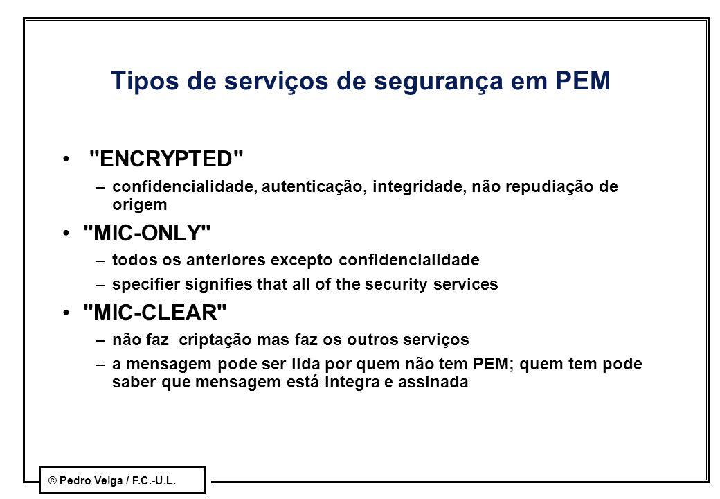 © Pedro Veiga / F.C.-U.L. Tipos de serviços de segurança em PEM